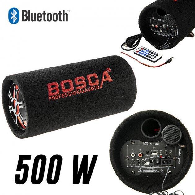 """Колонка бездротовий Сабвуфер 5"""" Bluetooth FM 12В і 220В 500W BOSCA чорна - зображення 1"""