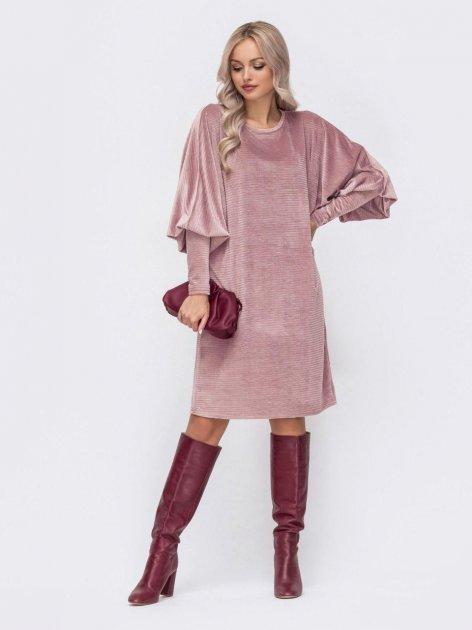 Платье вельветовое Dressa 51777 44-46 Розовое (2000405676495_D) - изображение 1
