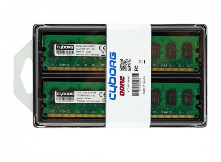 Оперативная память DDR2-800 4Gb PC2-6400 (Kit of 2x2048) Cyborg CD2F800T6/4G 4096MB (770008609) - изображение 1