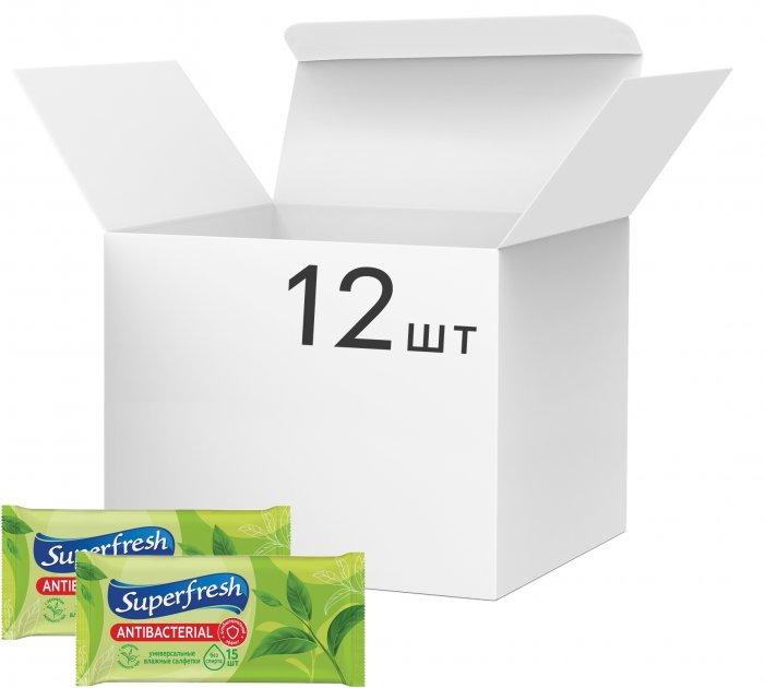 Упаковка вологих серветок Superfresh антибактеріальних Green Tea 12 пачок по 15 шт. (4823071630497_42216616) - зображення 1