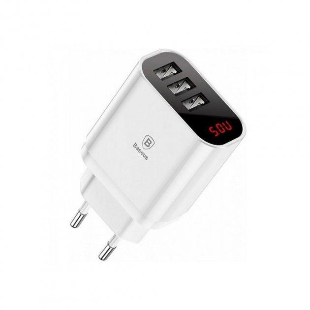 Мережевий зарядний пристрій Baseus Mirror Lake Intelligent Digital Display 3USB Travel Charger 3.4 A White - зображення 1