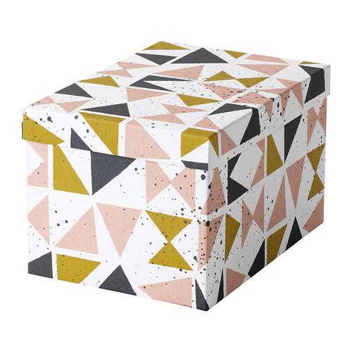 Контейнер з кришкою IKEA (ІКЕА) TJENA 18х25х15см білий чорний рожевий (703.982.14) - зображення 1
