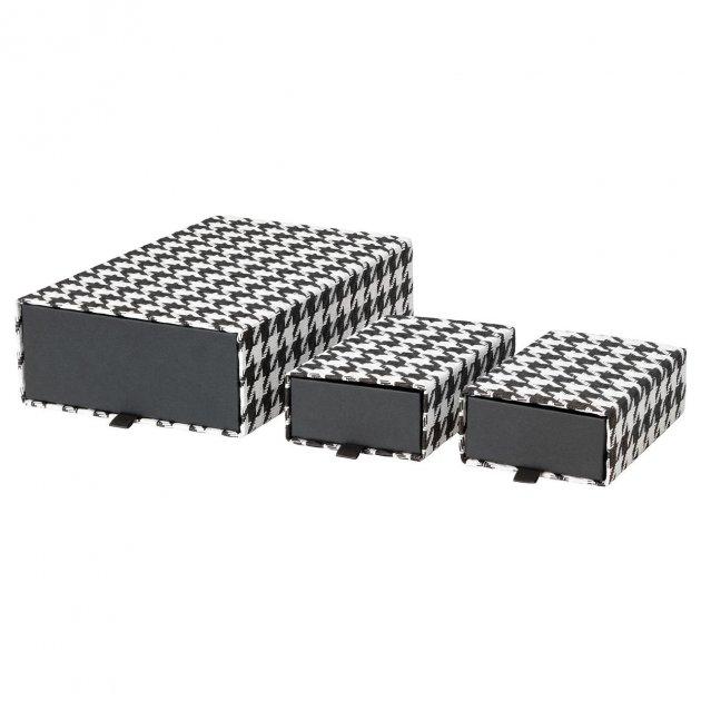 Набор коробок IKEA (ИКЕА) SAMMANHANG 3 шт черные белые (104.138.54) - зображення 1
