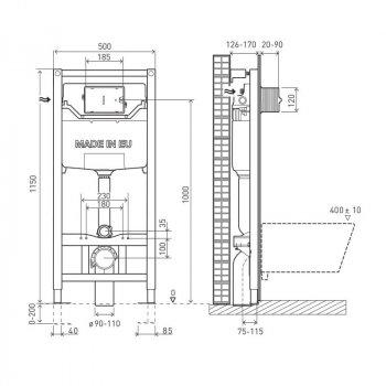 Інсталяція VOLLE Master Neo 201010 + унітаз Hippo Rectangular 13-44-202 + сидіння Slim Soft Close