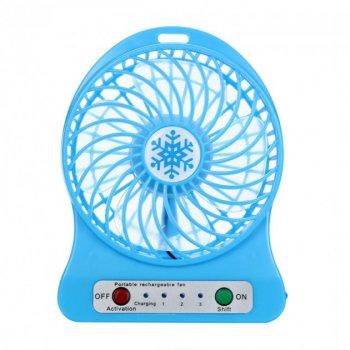 Переносной портативный вентилятор Ручной и Настольний FLP Синий