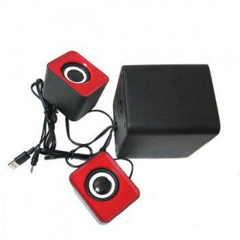 Комп'ютерні колонки акустика 2.1 FT-202 з сабвуфером Червоні (45828)