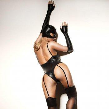 Сексуальная маска под латекс эластичная D&A Кошечка универсальный black