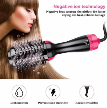 Фен-расческа 3 в 1 стайлер для укладки волос браш One Step Blower Brush 1000 Вт Black