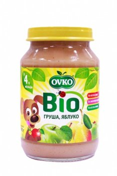 Пюре OVKO Груша і яблуко, 190 г (085696)