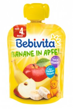 Фруктове пюре Bebivita Pouch Банан-яблуко, 90 г (213359)