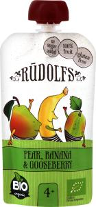 Пюре Rudolfs Pouch Смузі груша-банан-агрус, 110 г (264895)