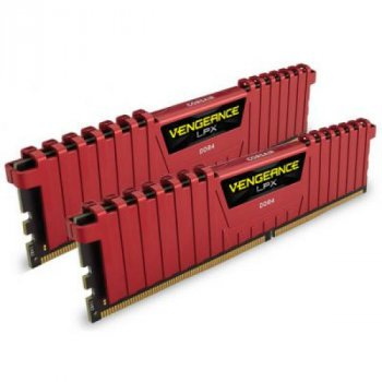 Модуль памяти для компьютера DDR4 16GB (2x8GB) 2400 MHz Vengeance LPX Red CORSAIR (CMK16GX4M2A2400C16R)