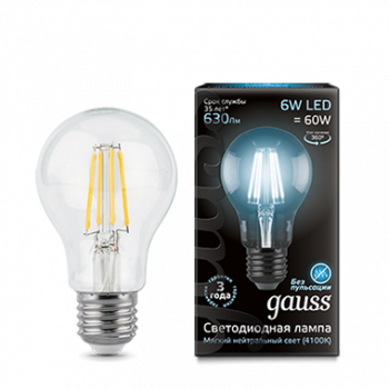 Лампа Гаусса LED Filament A60 E27 6W 630lm 4100К 1/10/40