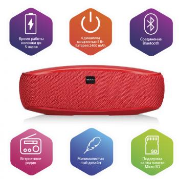 Бездротова Bluetooth колонка SODO L3-LIFE Red Оригінал