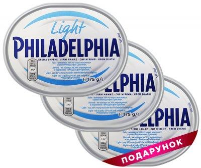 Набор сыров Philadelphia легкий 175 г, 2 шт. + 1 шт. в подарок