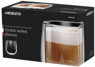 Набор чашек Ardesto для латте с двойным дном 360 мл 2 шт (AR2636G)