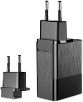 Мережевий зарядний пристрій Baseus Duke Universal Travel на 3 USB 3.4A (EU+UK+US) Black (CCALL-GJ01)