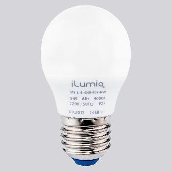 Світлодіодна лампа Ilumia куля 6Вт, цоколь Е27, 4000К (нейтральний білий), 450Лм (073)