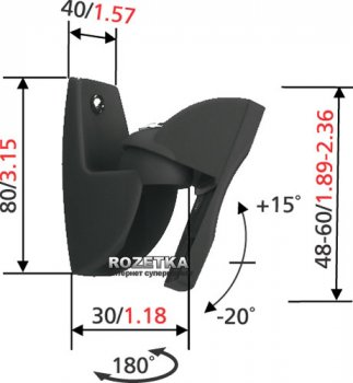Настінний кронштейн для колонки Vogels VLB 500 Black 2шт (VLB500B)