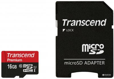 Transcend MicroSDHC UHS-I 16 GB Class 10 + SD-adapter (TS16GUSDU1)