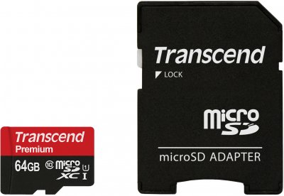 Transcend microSDXC 64GB Class 10 UHS-I Premium (TS64GUSDU1) + SD-adapter