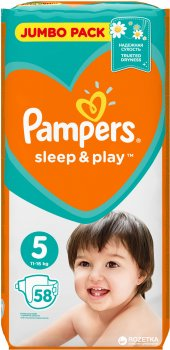 Підгузки Pampers Sleep & Play Розмір 5 (Junior) 11-16 кг, 58 шт (4015400203582)