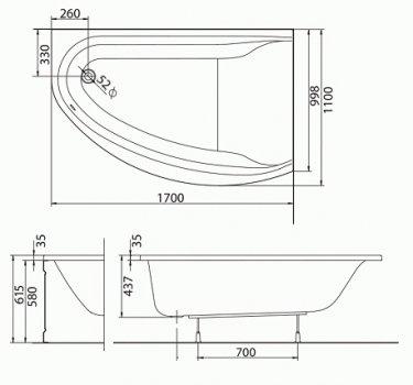 Ванна акриловая KOLO MIRRA 170х110 (XWA3370000) правосторонняя + ножки SN8