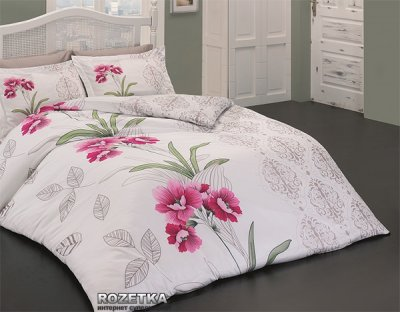 Комплект постельного белья Class Сатин Nilufer v1 200х220 Бело-розовый (010078173)