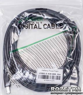 Кабель PowerPlant USB 2.0 AM – BM 5 м One ferrite (KD00AS1227)