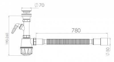 Сифон для кухонной мойки NOVA 1061N