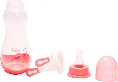 Бутылочка для кормления Lindo PK060 с ручками и силиконовой соской 250 мл Розовая (8850216000606)