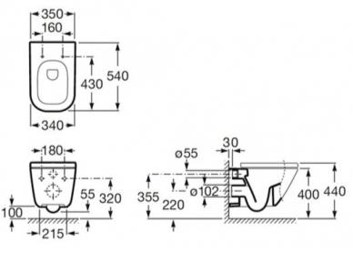 Унітаз підвісний ROCA GAP A34H478000/A346477000 з сидінням Soft Close A80148200U