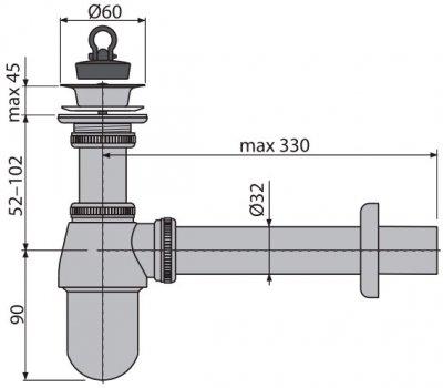 Сифон для раковины ALCA PLAST A437 (8595580520588)