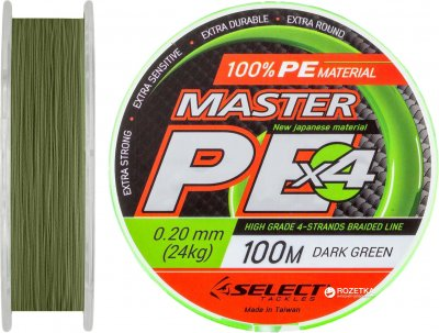 Шнур Select Master PE 100 м 0.20 мм 24 кг Темно-зеленый (18700147)