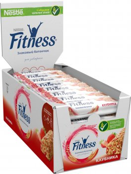 Упаковка батончиков злаковых Fitness с цельными злаками и клубникой 24 шт х 23.5 г (5900020023322_5900020015419)