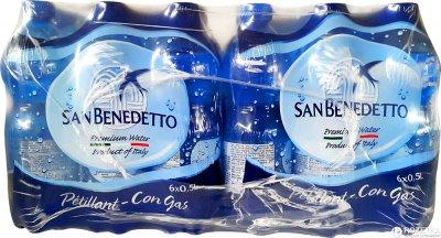 Упаковка минеральной газированной воды San Benedetto 0.5 л х 24 бутылки (8001620014974)