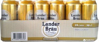 Упаковка пива Lander Brau Premium Pilsner светлое фильтрованное 4.9% 0.5 л x 24 шт (8714800026703)