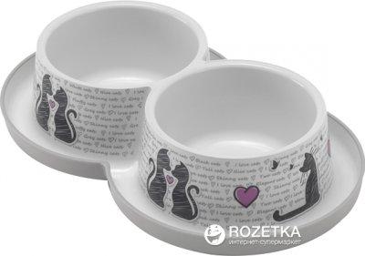 Двойная пластиковая миска для котов Moderna Double Trendy Dinner Cats in Love H136027CL 10 см 2х350 мл белая (5412087012299)
