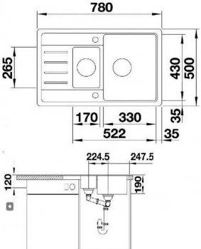 Кухонна мийка BLANCO LEGRA 6 S COMPACT (521302) антрацит + зливний гарнітур (232140)