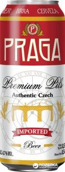 Упаковка пива Praga Premium Pils светлое фильтрованное 4.7% 0.5 л х 24 банок (8593875219490)