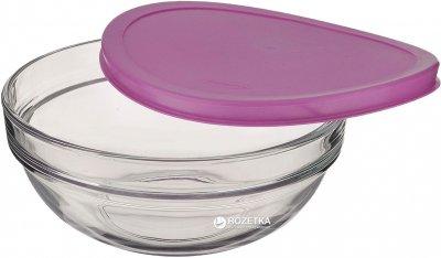 Набір круглих салатників Pasabahce Chef's з фіолетовими кришками 20 см х 2 шт (53573 н-р)