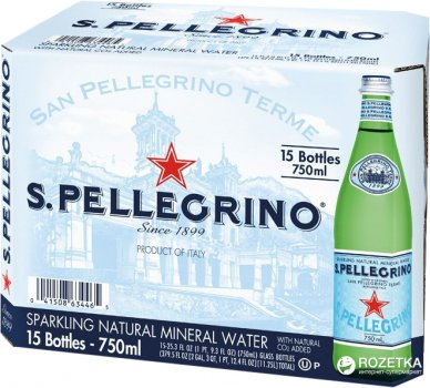 Упаковка минеральной газированной воды S.Pellegrino 0.75 л х 15 бутылок (8002270052453)
