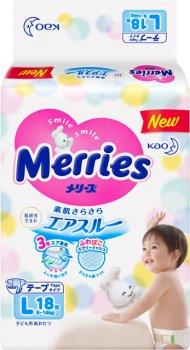 Подгузники Merries для детей L 9-14 кг 18 шт (4901301509086)