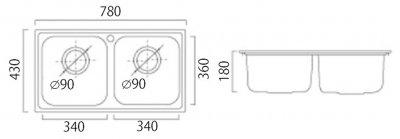 Кухонна мийка ULA 5104 ZS Satin + сифон ULA