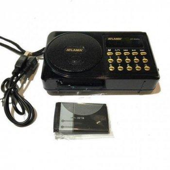 Радиоприемник ATLANFA с USB SD дисплей фонарик AT R22U флешка