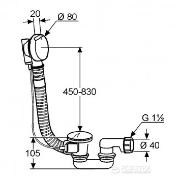 Сифон для ванны KLUDI ROTEXA 2000 214090500