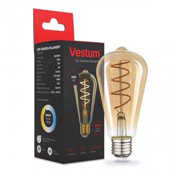 """Лампа LED филаментная Vestum """"вінтаж"""" golden twist ST64 Е27 4Вт 220V 2500К (1-VS-2703)"""