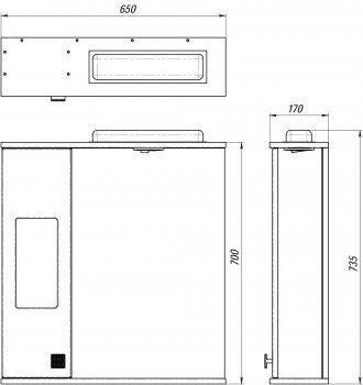 Зеркальный шкаф ВанЛанд Ирис Ирз 2-65 (правый)