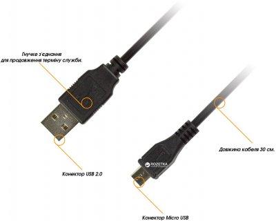 Кабель Piko microUSB BM-USB 2.0AM 0.3 м (1283126474071)