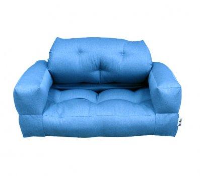 Диван безкаркасний трансформер Lavibo Ультра велюр L Блакитний 200х140х25 см
